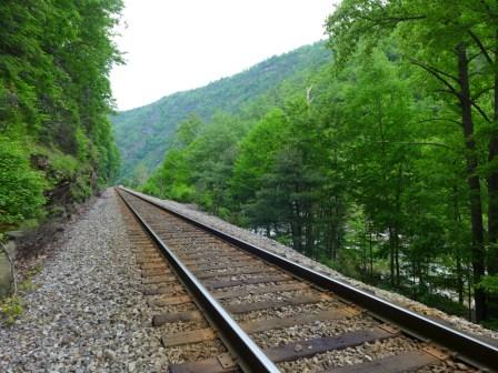 Railroad which runs along the Nolichucky River