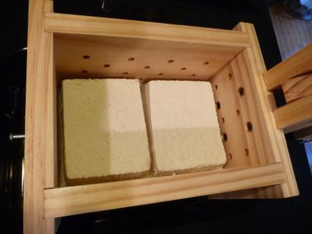 Pressing store bought tofu with Earth First Tofu Press